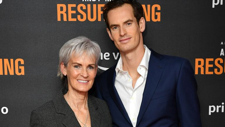 """Judy Murray and Andy Murray attend the """"Andy Murray: Resurfacing"""" world premiere at the Curzon Bloomsbury on November 25, 2019 in London, England"""