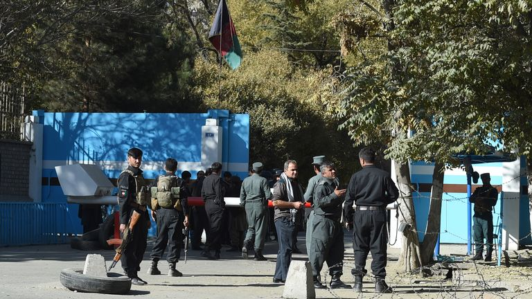 A security personnel stands guard outside the Kabul University in Kabul on November 2, 2020. - Gunmen stormed Kabul university on November 2 ahead of the opening of an Iranian book fair, firing shots and sending students fleeing, Afghan officials and witnesses said. (Photo by WAKIL KOHSAR / AFP) (Photo by WAKIL KOHSAR/AFP via Getty Images)