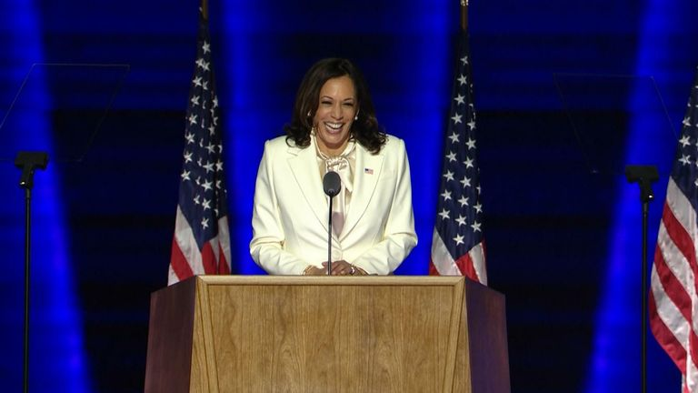 Kamala Harris gives a victory speech as she becomes the first vice president-elect woman of colour.