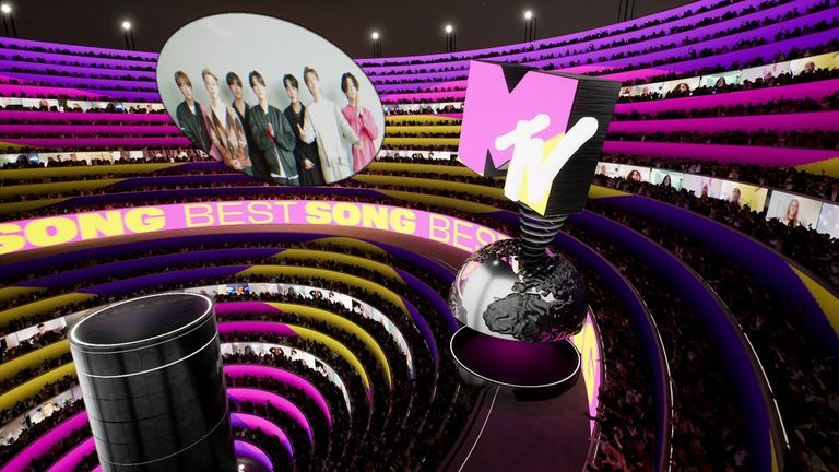 BTS accepts the win for Best Song at the MTV EMA's 2020, in Los Angeles, California, U.S. in this screengrab image released on November 8, 2020.