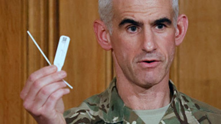 The lateral flow test being used in Liverpool was displayed by Brigadier Fossey at a news conference this week