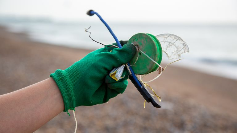 Plastic lids and polystyrene were also found extensively by the litter pickers. Pic: Marine Conservation Society