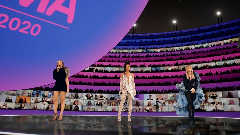 Hosts Jade Thirlwall, Leigh-Anne Pinnock and Perrie Edwards of Little Mix presents at the MTV EMA's 2020
