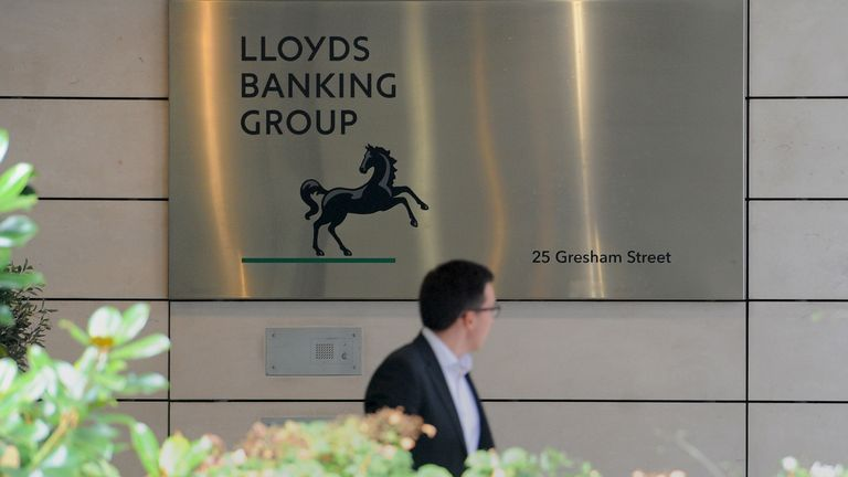 Signage outside the Lloyds Banking Group head offices in London
