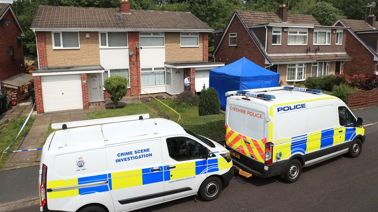Police outside  Lucy Letby 's home in June 2019