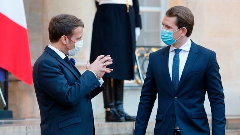 Austrian leader Sebastian Kurz (right) warned of the threat from 'ticking time bomb' ex-jihadis