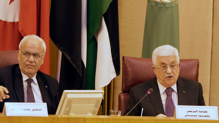 Mr Erekat is pictured with Palestinian president Mahmoud Abbas in Egypt in 2015