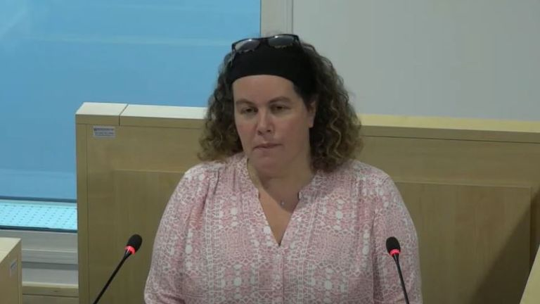 Miriam Stone, the concert's duty manager speaking at the inquiry today (Pic: YouTube/Manchester Arena Inquiry)
