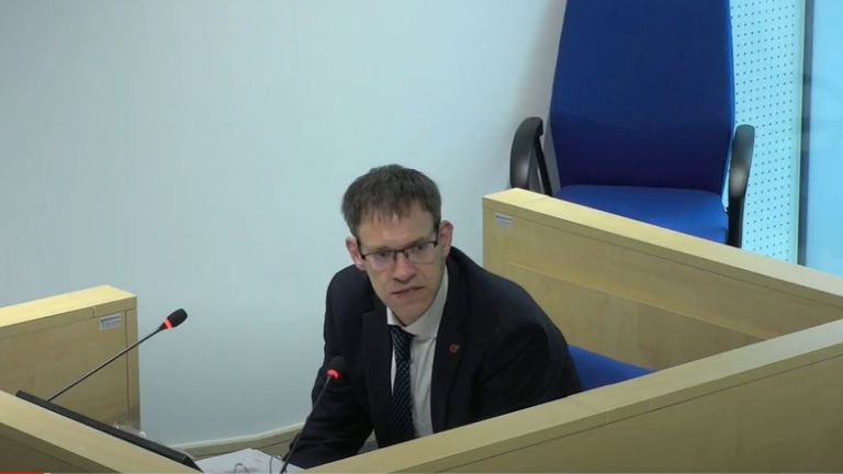 James Allen, general manager for the arena, takes the stand at the inquiry (Pic: Manchester Arena Inquiry)