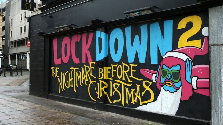 Street art that highlights the second lockdown is seen on the wall of Crazy Pedro's on November 09, 2020 in Manchester, England.