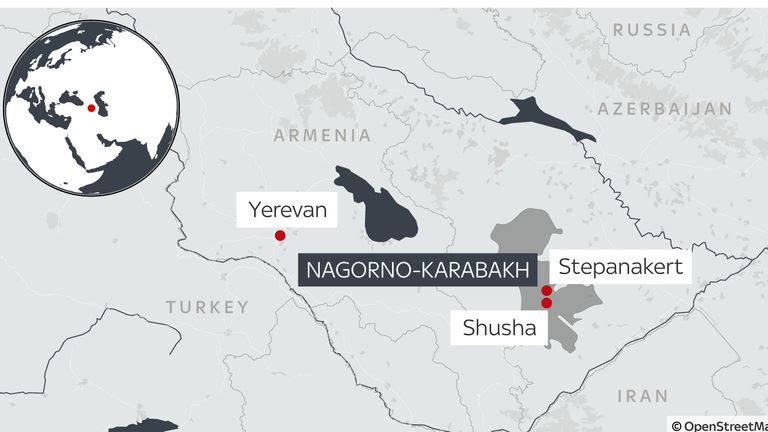 Nagorno-Karabakh is internationally recognised as part of Azerbaijan but populated and controlled by ethnic Armenians
