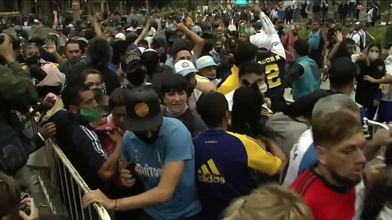 Fans of Diego Maradona gathered in central Buenos Aires to pay their last respects to their football hero