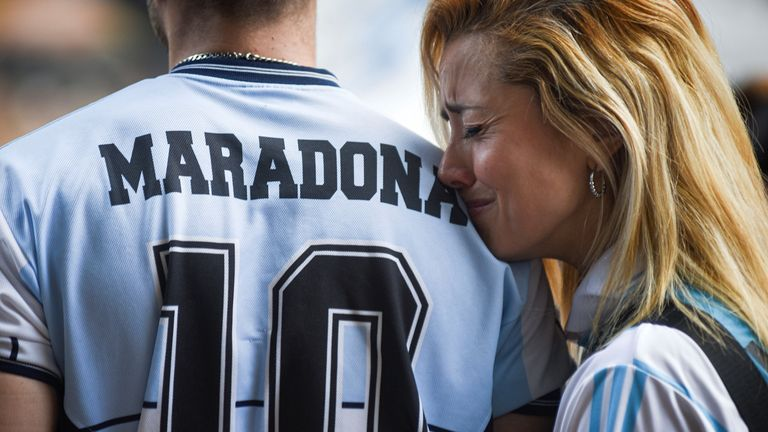 Crowds continued to gather in Buenos Aires on Wednesday night, to pay tribute to Diego Maradona, who died aged 60