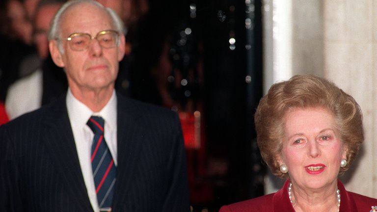Margaret Thatcher with husband Denis outside 10 Downing Street before leaving for Buckingham Palace to offer her resignation to the Queen