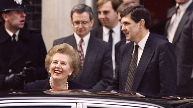Margaret Thatcher leaving 10 Downing Street for the last time as prime minister