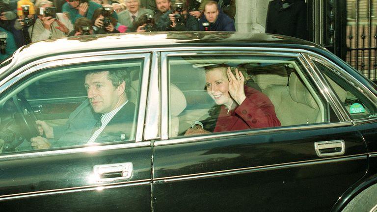 Margaret Thatcher leaving Buckingham Palace.