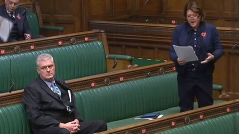 Maria Miller was seated next to Lee Anderson in a House of Commons debate