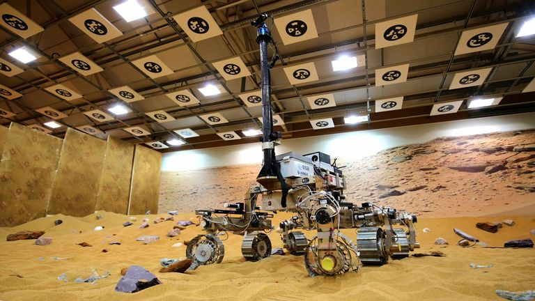 Bruno the ExoMars rover prototype on the Mars test area at Airbus Defence Space in Stevenage, Hertfordshire. File Pic