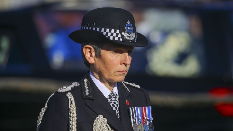 Metropolitan Police Commissioner Dame Cressida Dick pays her respects as the hearse leaves the funeral service of police officer Sergeant Matt Ratana in Shoreham-by-Sea, West Sussex.