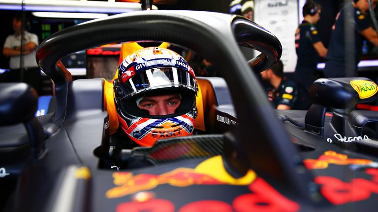 Max Verstappen of Netherlands and Red Bull Racing in his car fitted with the halo safety device