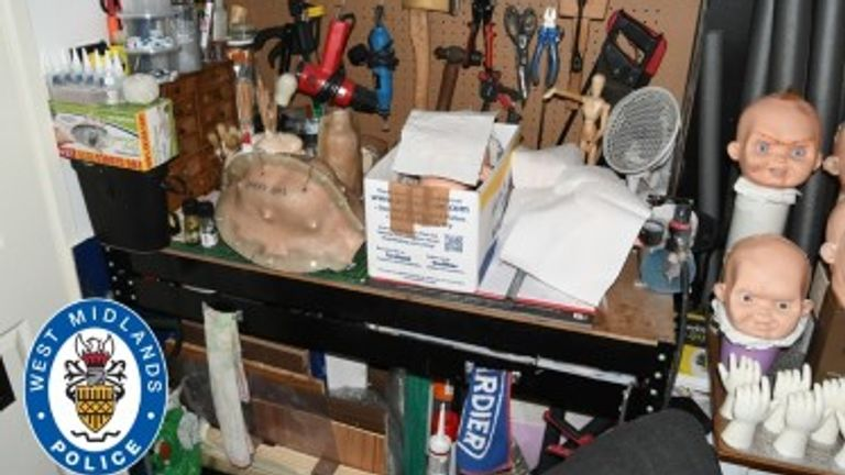 A workbench, tools and doll's heads found at the home of Nathan Maynard-Ellis in Tipton, where he killed and dismembered Julia Rawson