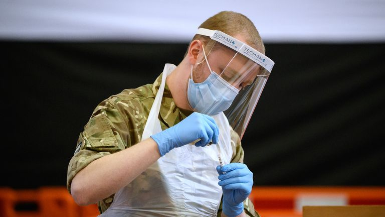An RAF airman at a temporary testing centre in Merthyr Tydfil, Wales
