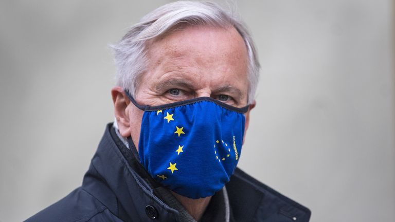 EU's chief negotiator Michel Barnier walks back to his hotel in Westminster after leaving meetings on Victoria Street, London, during a break in talks as efforts continue to strike a post-Brexit trade deal.