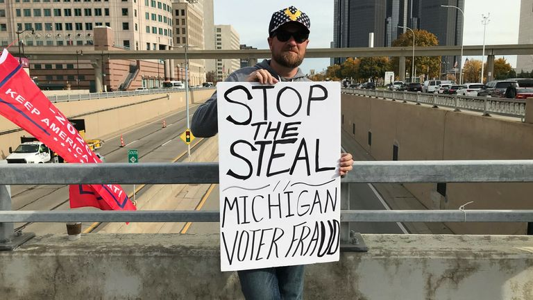 Donald Trump supporter holds a 'stop the steal' placard in Detroit