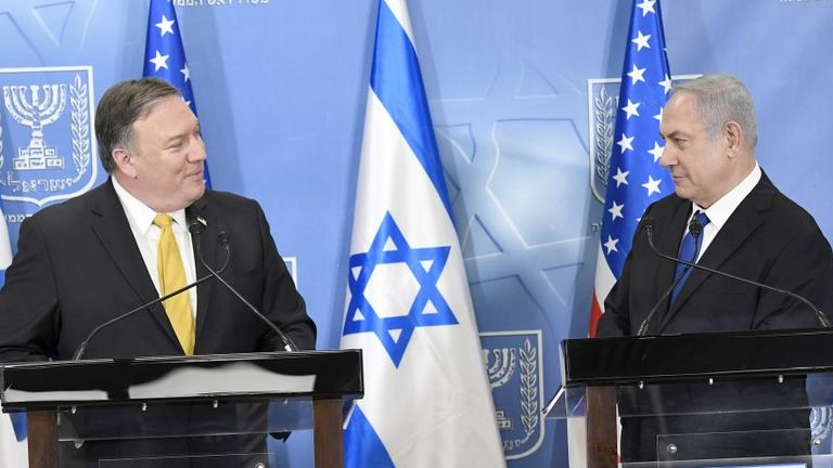 US Secretary of State Mike Pompeo meets Israeli Prime Minister Benjamin Netanyahu and deliver remarks to the media at the Prime Minister's Office in Jerusalem, Israel, April 29, 2018. Image courtesy Matty Stern/U.S. Embassy Tel Aviv. (Photo by Smith Collection/Gado/Getty Images)