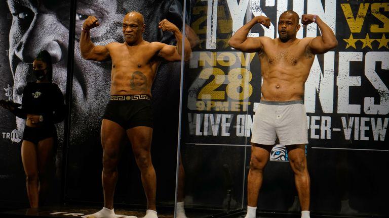 Mike Tyson and Roy Jones Jr have weighed ahead of their no-win bout