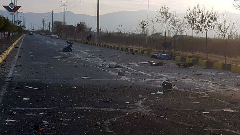 A view shows the site of the attack that killed Prominent Iranian scientist Mohsen Fakhrizadeh, outside Tehran, Iran, November 27, 2020. WANA (West Asia News Agency) via REUTERS ATTENTION EDITORS - THIS IMAGE HAS BEEN SUPPLIED BY A THIRD PARTY.