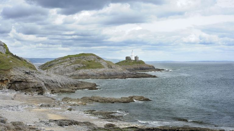 Mumbles Lighthouse on the coast