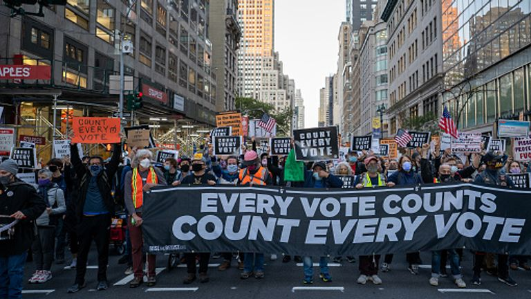 Voters march in New York City