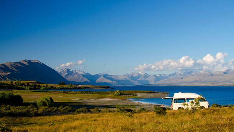 Lots of tourists hire campervans to travel around New Zealand