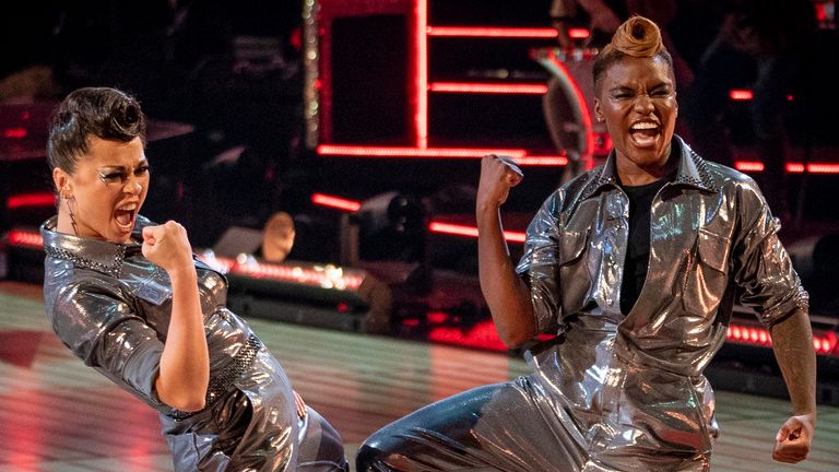 Nicola Adams and Katya Jones performing on Strictly Come Dancing. Pic: BBC