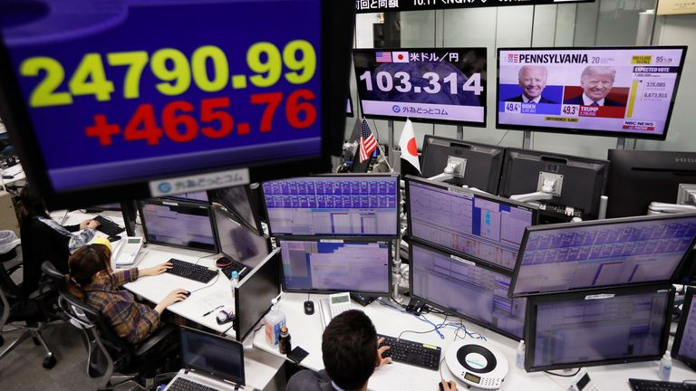 Employee of the foreign exchange trading company work in front of monitors showing, Japan's Nikkei share average, the Japanese yen exchange rate against the U.S. dollar and news on the U.S. presidential election at a dealing room in Tokyo, Japan November 9, 2020.