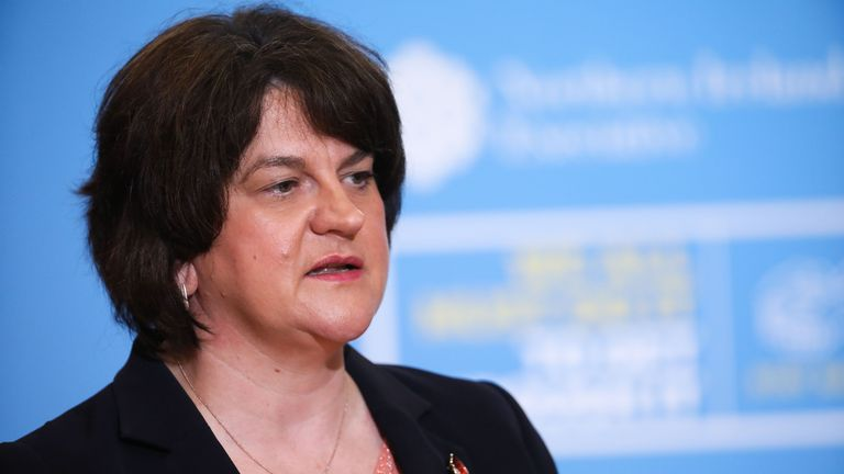 Handout photo of First Minister Arlene Foster at a press conference at Parliament Buildings, Stormont, to discuss the latest coronavirus situation.