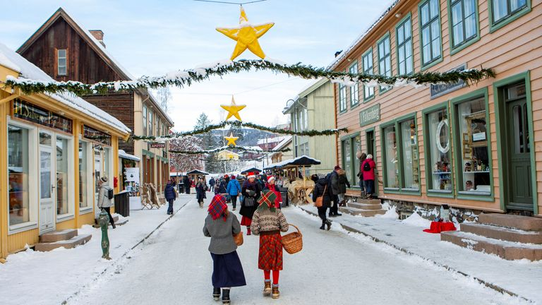 Christmas decorations in a street in Lillehammer, Norway, last year