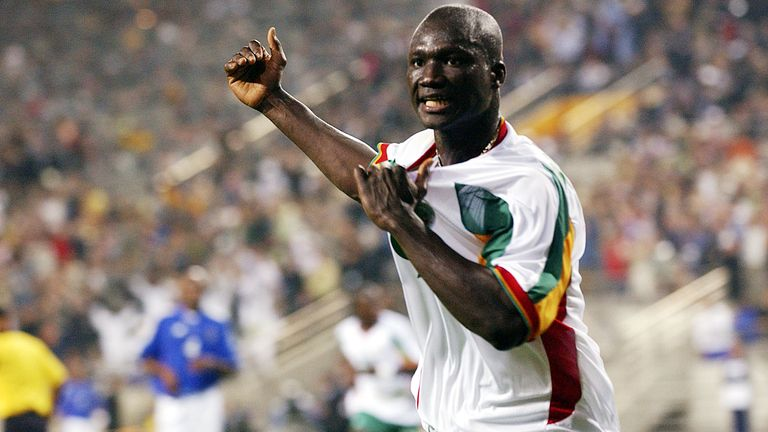 Papa Bouba Diop celebrates scoring against France in the 2002 World Cup