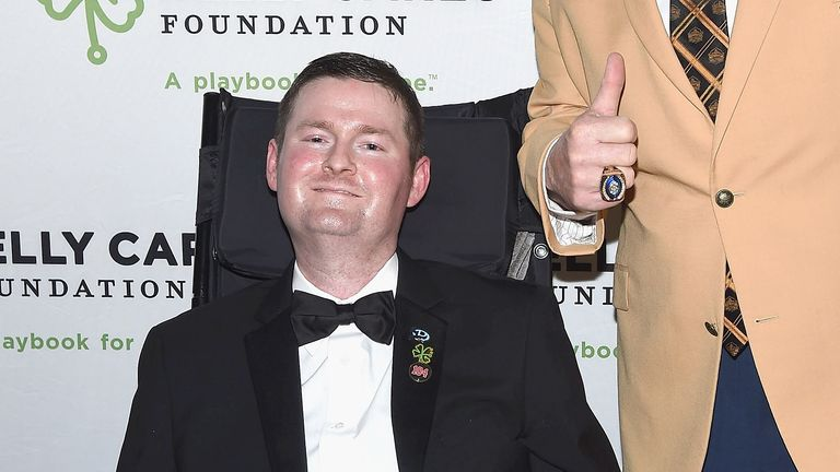 Event honorees, ALS Ice Bucket Challenge co-founder Patrick Quinn (L) and Pro Football Hall of Famer Jim Kelly attend the 2017 Kelly Cares Foundation Irish Eyes Gala at The Pierre Hotel on April 24, 2017 in New York City