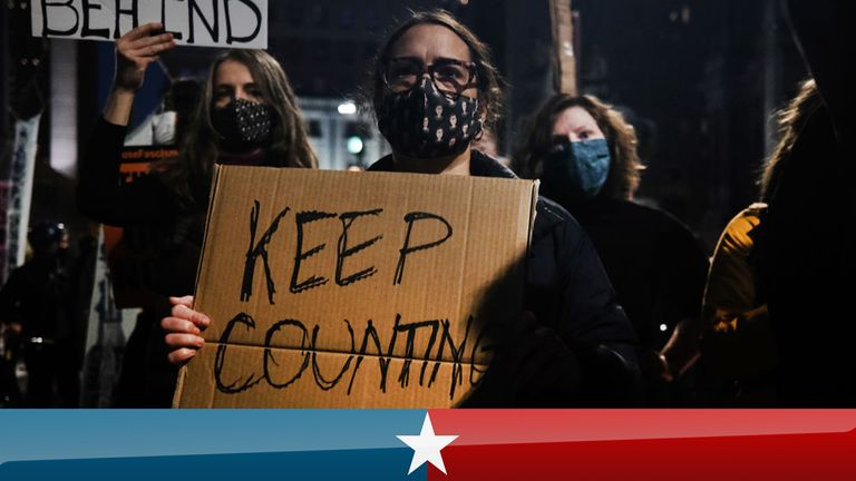 PHILADELPHIA, PENNSYLVANIA - NOVEMBER 04: People participate in a protest in support of counting all votes as the election in Pennsylvania is still unresolved on November 04, 2020 in Philadelphia, Pennsylvania. With no winner declared in the presidential election last night, all eyes are on the outcome in a few remaining swing states to determine whether Donald Trump will get another four years or Joe Biden will become the next president of the United States. The counting of ballots in Pennsylva