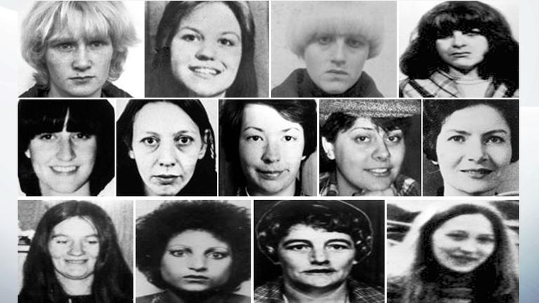 The 13 murder victims of  Peter Sutcliffe. Pic: Shutterstock