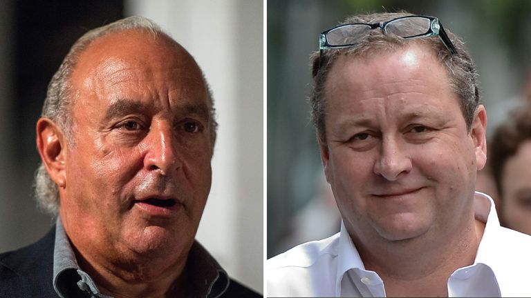 British retail tycoons Sir Philip Green (left) and Mike Ashley