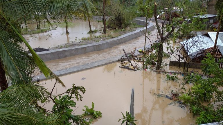 Aftermath of Typhoon Goni in Albay Province A view of floodwater and damaged houses in the aftermath of Typhoon Goni in Bariw, Camalig, Albay Province, Philippines, November 1, 2020, in this picture obtained from social media. Renz Adrian Ronda/via REUTERS ATTENTION EDITORS - THIS IMAGE HAS BEEN SUPPLIED BY A THIRD PARTY. MANDATORY CREDIT. NO RESALES. NO ARCHIVES.