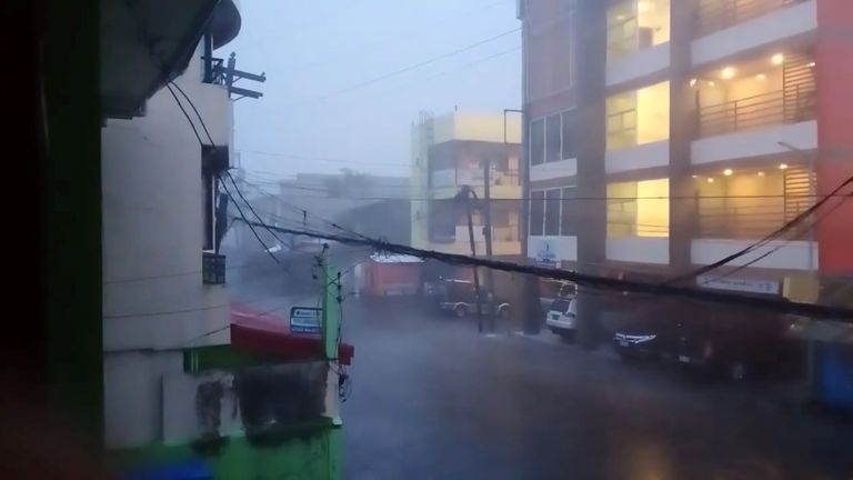 A view of heavy rain during Typhoon Goni in Sorsogon city A view of heavy rain during Typhoon Goni in Sorsogon City, Sorsogon, Philippines November 1, 2020 in this still image taken from video obtained from social media. Mandatory credit RICK GO ESGUERRA/via REUTERS THIS IMAGE HAS BEEN SUPPLIED BY A THIRD PARTY. MANDATORY CREDIT. NO RESALES. NO ARCHIVES.