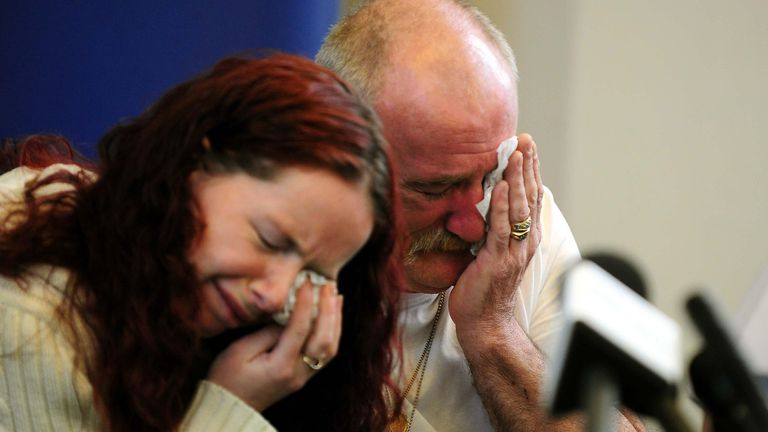 Mick Philpott and wife Mairead speak to the media at Derby