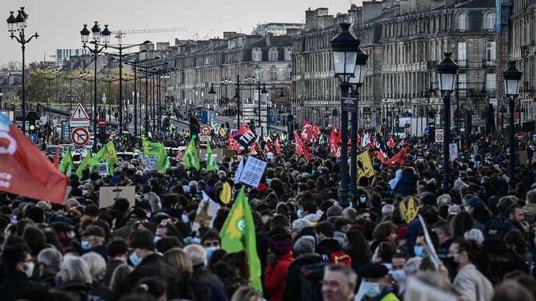 "Protesters march in Paris during a demonstration against the ""global security"" draft law"