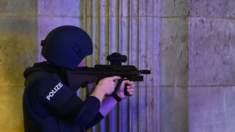 Armed police have descended on the area in the centre of the Austrian capital