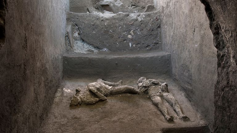 Remains of two men who died in the volcanic eruption that destroyed the ancient Roman city of Pompeii in 79 AD