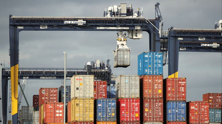 Containers at the Port of Felixstowe, which is hoping to clear the PPE stockpile within four weeks